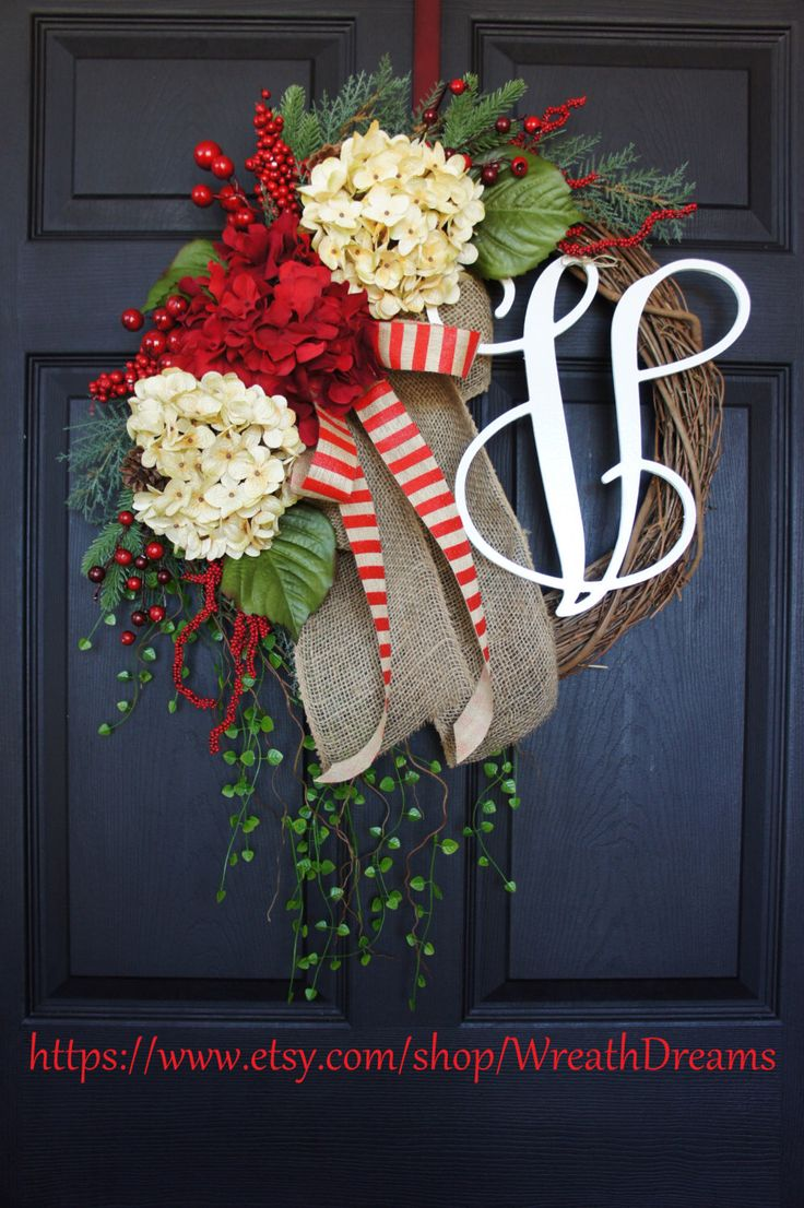 Rustic Holiday Grapevine Wreath. Burlap Wreath. Christmas Wreath. Winter Wreath. House Warming Gift. Christmas Gift. by WreathDreams on Etsy https://www.etsy.com/listing/209357196/rustic-holiday-grapevine-wreath-burlap