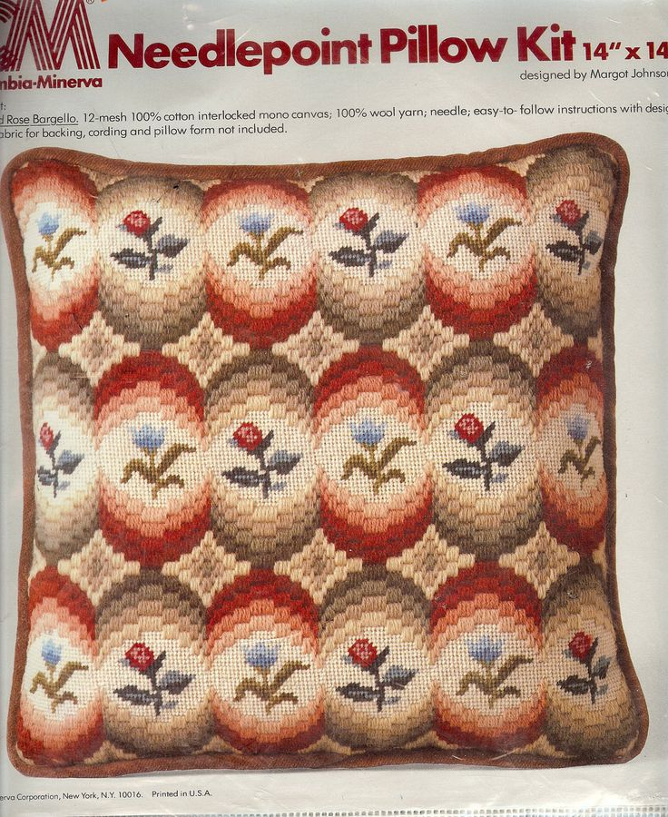 Tulips and Rose Bargello Needlepoint Pillow