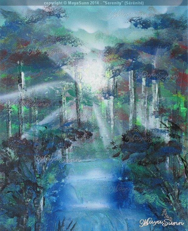 Forest serenity hope waterfall rays of light