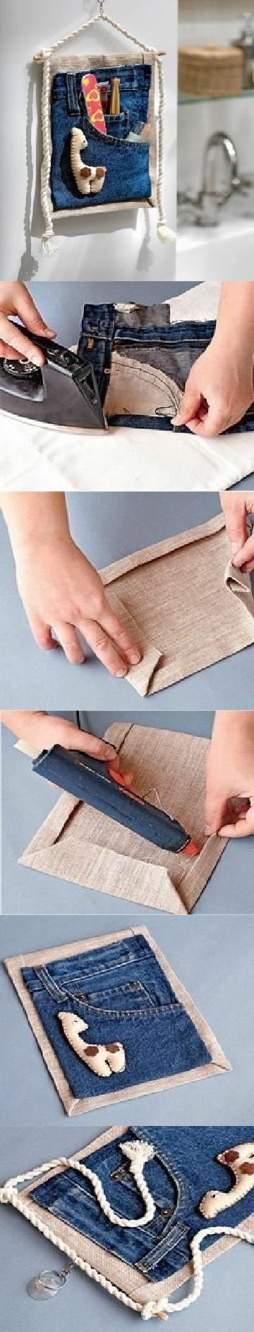 DIY jeans refashion: DIY Old Jeans Organizer