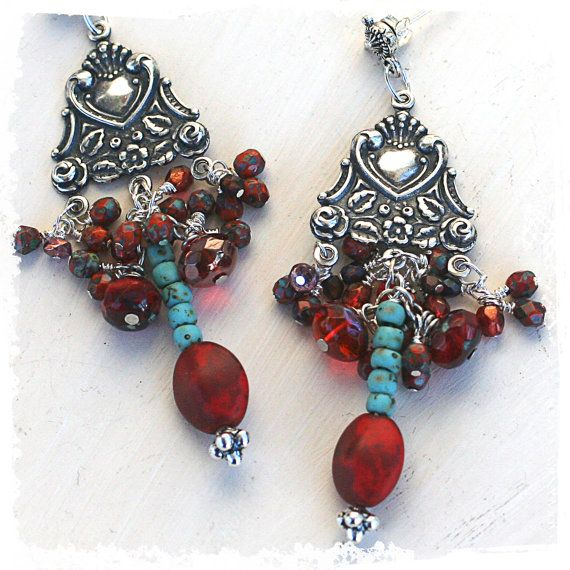Red and turquoise silver earrings - Southwestern chandelier earrings  - Long statement earrings