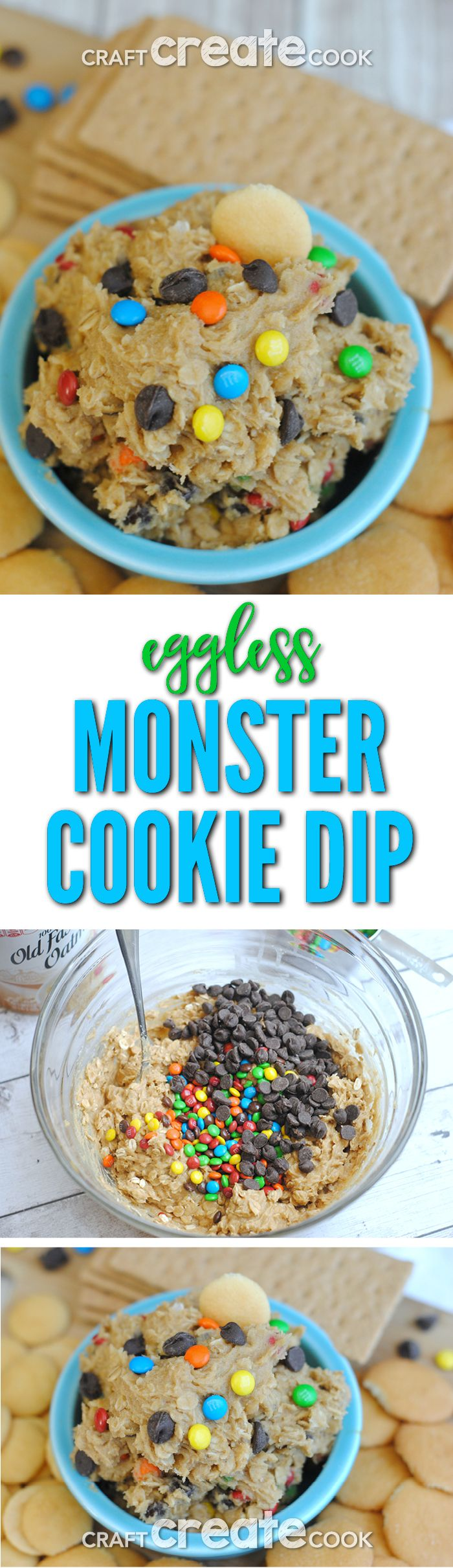 Eggless Monster Cookie Dip is perfect for when you don't want to bake cookies and just want to snack on cookie dough! via @CraftCreatCook1