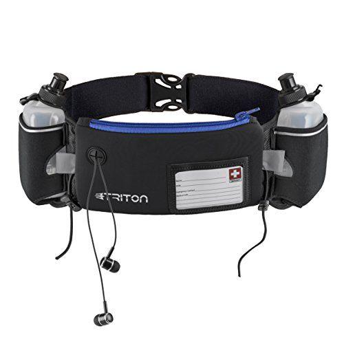Hydration Running Belt - FREE Headphones - 2 BPA Free wat...