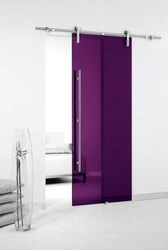 Colored Glass Barn Sliding Door - contemporary - windows and doors - Modernus (Not the color, just the design)