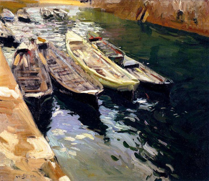 JoaquínSorollay Bastida. Fishing Boats, Port of Zarauz. 1910. Oil on Canvas. 68 x 79 in (172 x 200cm)