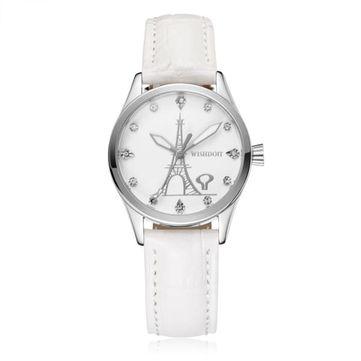 WISHDOIT 005 Fashion Women Quartz Watch Roman Numerals Flower Iron Tower Wrist Watch at Banggood