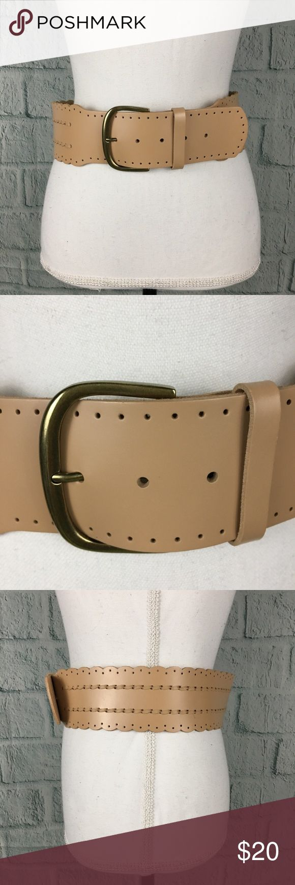 """Cabi Wide Scalloped Bisque Tan Leather Belt CAbi """"bisque"""" tan leather scalloped fashion belt.  The wide belt has scalloped edges and leather stitching. The buckle is brass tone and measures about 3"""" wide. The belt leather is about 2.75"""" wide and 37"""" long.  EUC - no notable signs of wear CAbi Accessories Belts"""
