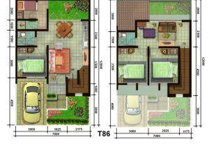 inspirasi denah rumah ukuran 6×10 3 kamar tidur terbaru