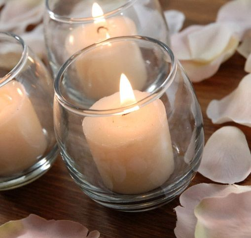 """2-1/2"""" Rolypoly Glass Votive Holders   24  for $10.80 / $.45 each  -   Frost or color with mod podge."""