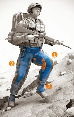Next Big Future: Lighter Armor and Exosuit Soldier Technology-DARPA has created Warrior Web, a soft, supportive undersuit for the lower body. With a system of spring and rubber bands, the suit stores a soldier's own kinetic power (from walking or running)