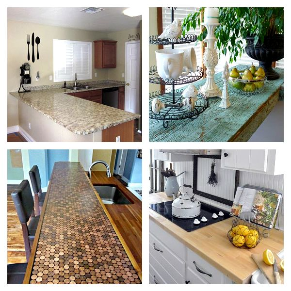 DIY:: 15 Beautiful Budget Countertop Ideas !  (Tutorials for Each) Curated by @deb rouse schwedhelm rouse schwedhelm rouse schwedhelm rouse schwedhelm Depew's