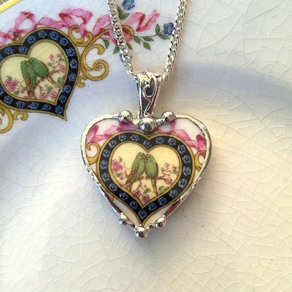 Broken china jewelry heart shaped necklace par dishfunctionldesigns