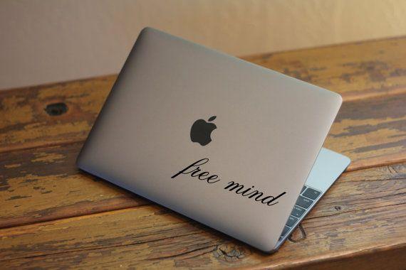 FREE MIND MacBook Decal Script Quote Vinyl Sticker Removable