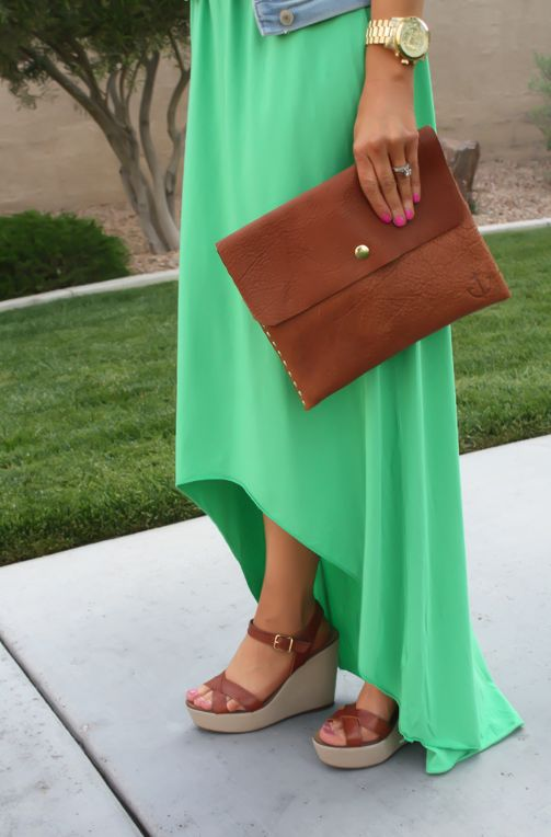 A bright maxi dress paired with a jean jacket and wedges is the perfect summer outfit! #CatchSummer #ad