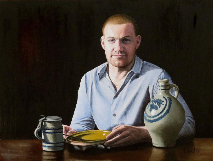 Wout de Jong. Portret en stilleven 2. Portret van een jonge man met stilleven van oude gebruiksvoorwerpen, olieverf op doek