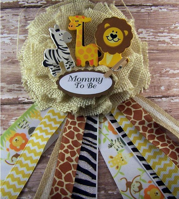 Safari animals mommy to be corsage baby shower by for Baby shower party junge
