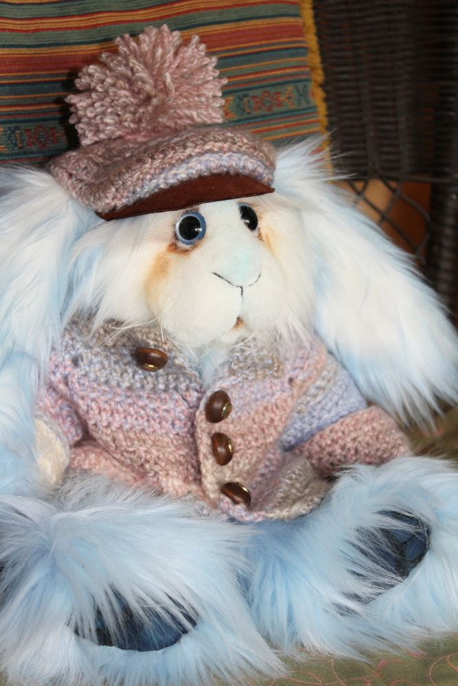 Hand sewn jointed teddy bunny at RiverSong Art Studio on Etsy