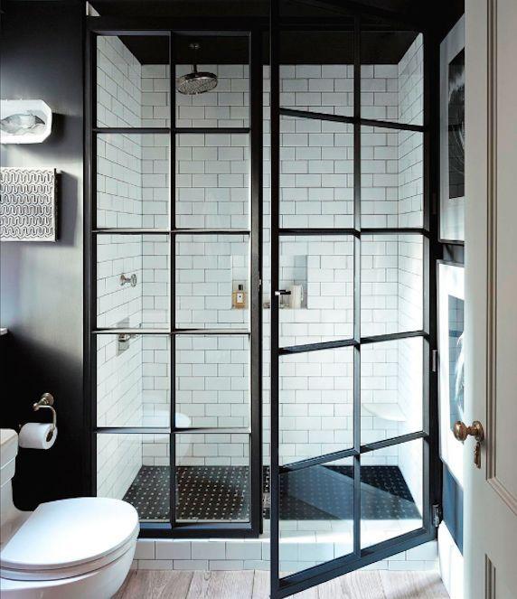 Shower screen door black metal and glass