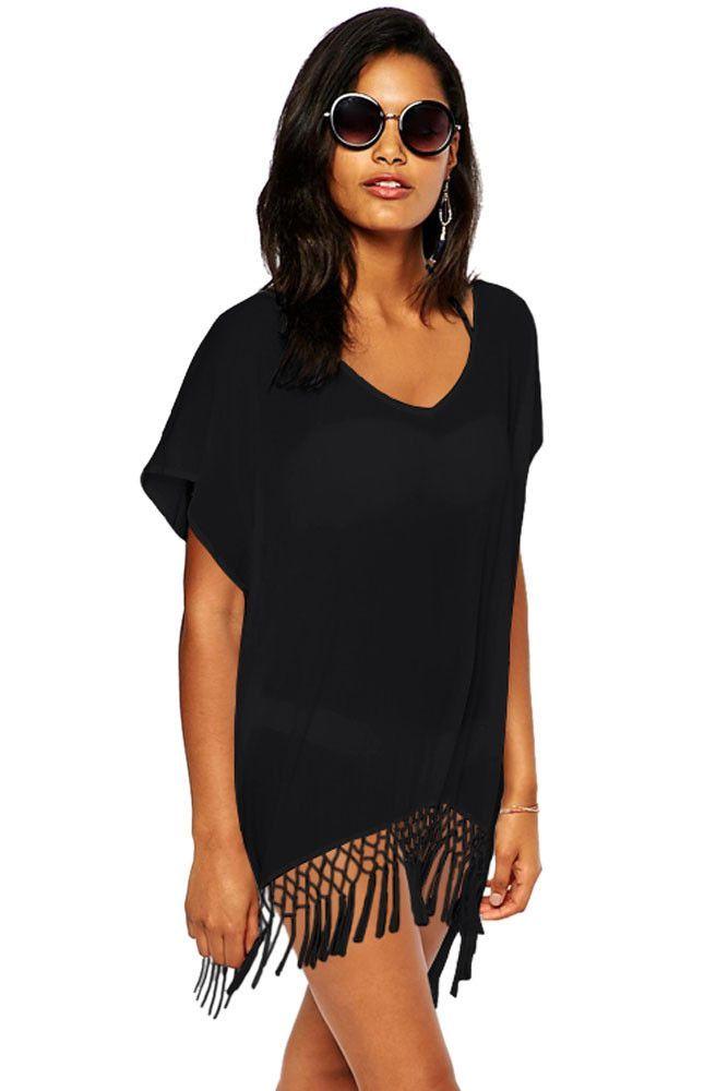 56459ae557 Chicloth Black Short Kimono Sleeve Crochet Fringe Beach Kaftan ...