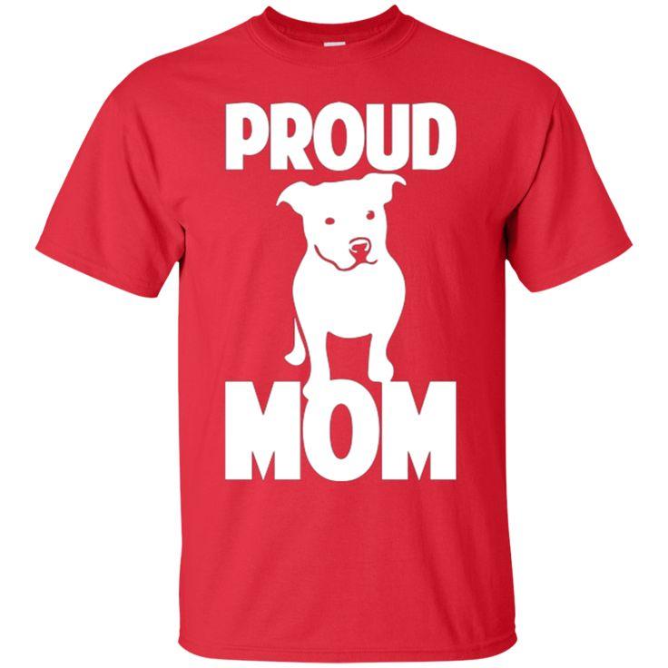 PROUDE PIT BULL MOM T-SHIRT BLACK LETTERS