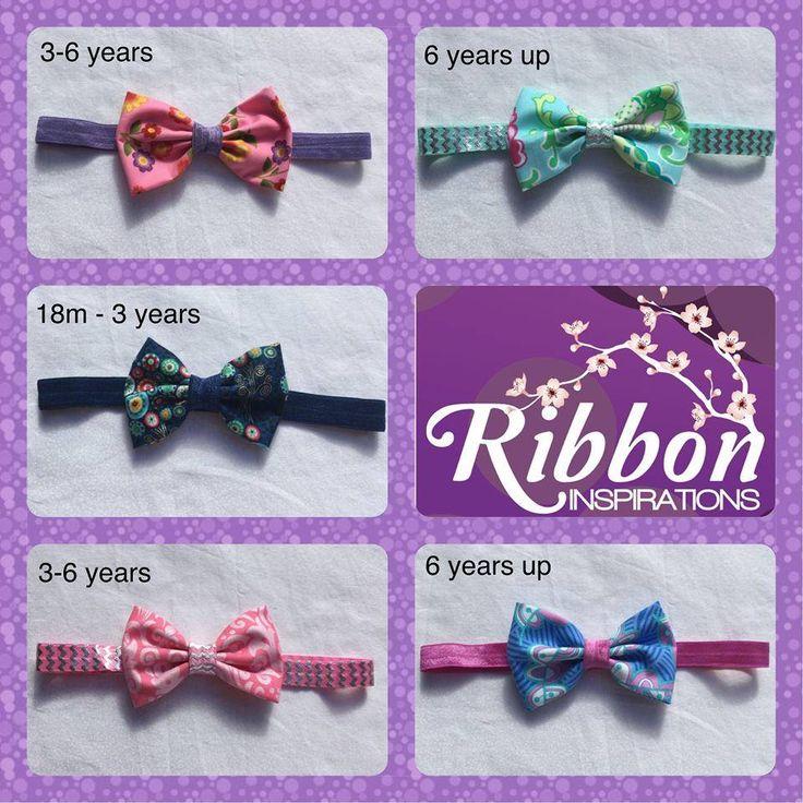 Handmade by Kate from Ribbon Inspirations.  Fabric bow elastic headbands.
