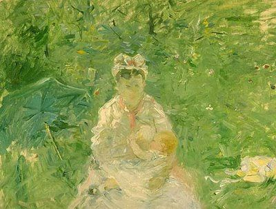Morisot, The Wet Nurse (1880)-Two major issues surrounded the question of wet-nursing. First, was whether or not it was desirable, in a general sense. when the mother was capable of breast feeding and, second, the question of safety; was the milk from a wet nurse, often unknown to the family, safe.  For if one believed that the lower and laboring classes were unclean, immoral and animalistic one had to ask why a healthy woman capable of breast feeding, would turn to a wet nurse.