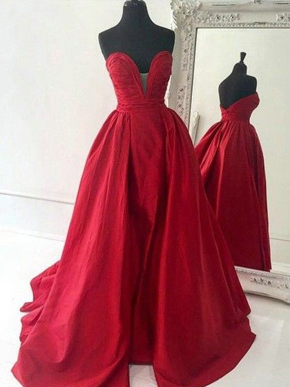 A-line V-neck Satin Sweep Train Ruffles Simple Red Prom Dresses #Milly020102672