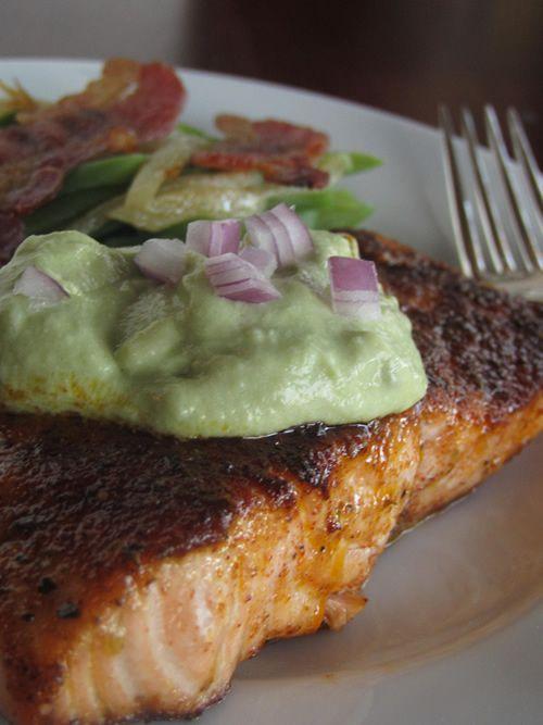Ancho-crusted salmon with avocado crema