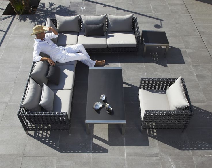 """FLOW – MODULAR SETS  The Ultimate in outdoor comfort, the Flow Collection is extremely stylish, but does not sacrifice when it comes to functionality. It features an eye-catching graphite colour scheme with luxurious cushioning, making it perfect for those lazy days by the pool. http://www.wgu.com.au/product/flow-modular-sets/"""