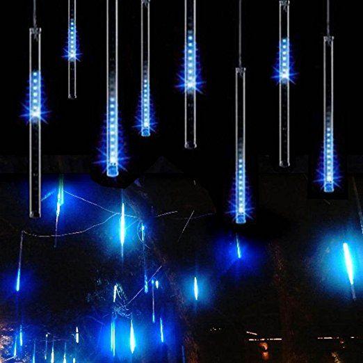 New STONG Tube Meteorschauer Regen Schneefall Deko Leuchten Lichterkette f r Au en Garten Weihnachten Dekoration Decoration EU Stecker Blau