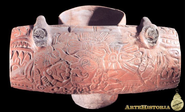 Vasija-Teponaztli. Cultura Azteca (México) Autor: Fecha: 1325-1521 Museo: Características: Estilo: Material: Cerámica Pintada