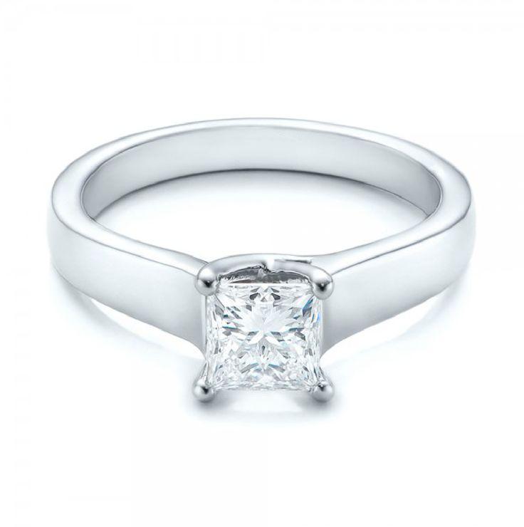 Princess Cut Diamond Solitaire Ring 18K White Gold