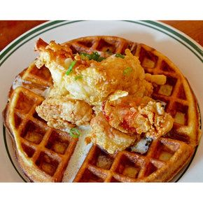 FRIED LOBSTER & WAFFLES  WITH A THAI BIRD CHILI INFUSED MAPLE SYRUP