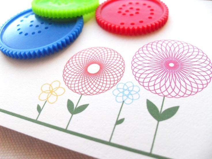 Note Cards Spirograph Flowers Set of 10 van MimosaCards op Etsy