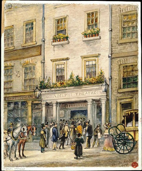 1818 Watercolor of the Exterior of the Adelphi Theatre in London, by Morand ~ it's unrecognizable today :D