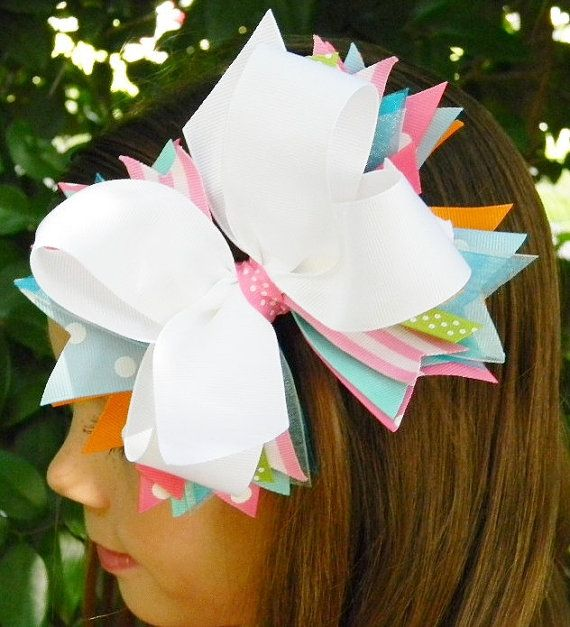 Boutique hair bow Girls hair bow Stacked hair by PoshPrincessBows1, $12.99