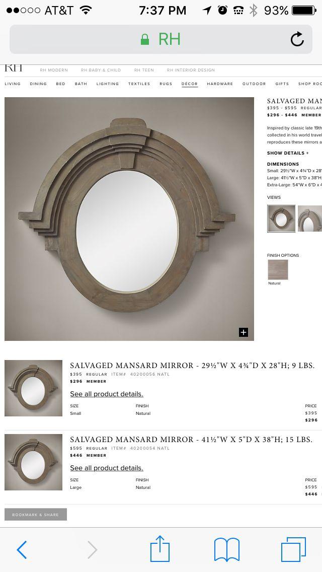 Oeil de boeuf reproduction mirror from RH