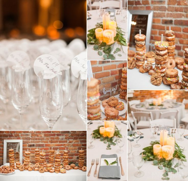 Champagne escort cards, flower alternatives, wedding centerpieces, and donut bar!