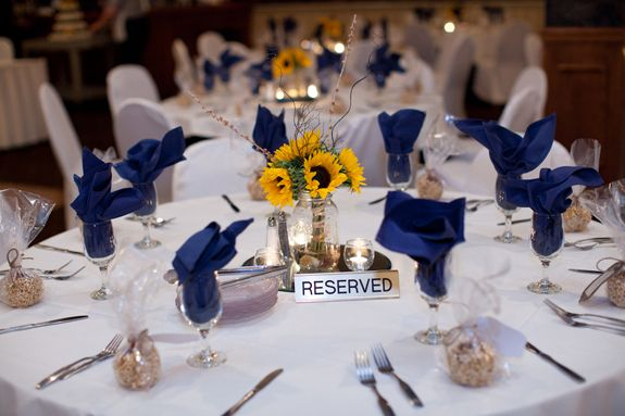 Handmade Sunflower Bouquets and a Navy Blue & Yellow Color Palatte…a Perfectly Happy Ohio Wedding