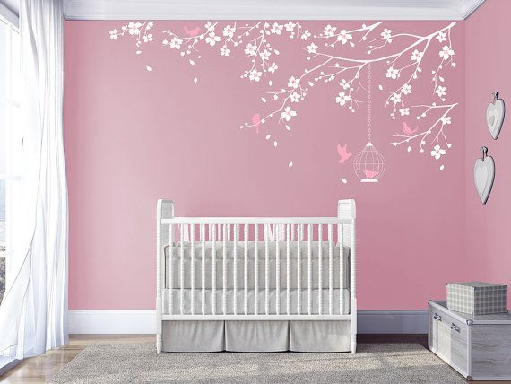 Branch wall Decal Baby Nursery Decals Girls Room Decal Cherry Blossoms Tree Decal Nursery room Floral wall decal living room bedroom sticker