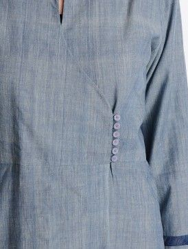 Grey Brocade Applique Detailed Vegetable Dyed Mangalgiri Cotton Angrakha Kurta