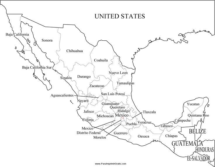 Más De Ideas Increíbles Sobre Mapa Mexico Con Nombres En - Mapa de mexico