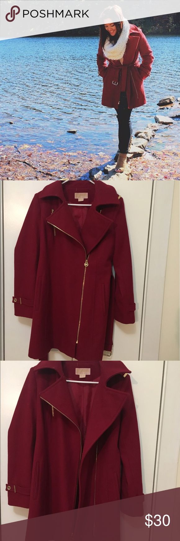 Red Michael Kors Jacket Red Michael Kors Jacket with gold accents. Perfect for fall weather and goes great with dresses or day to day wear! MICHAEL Michael Kors Jackets & Coats Pea Coats