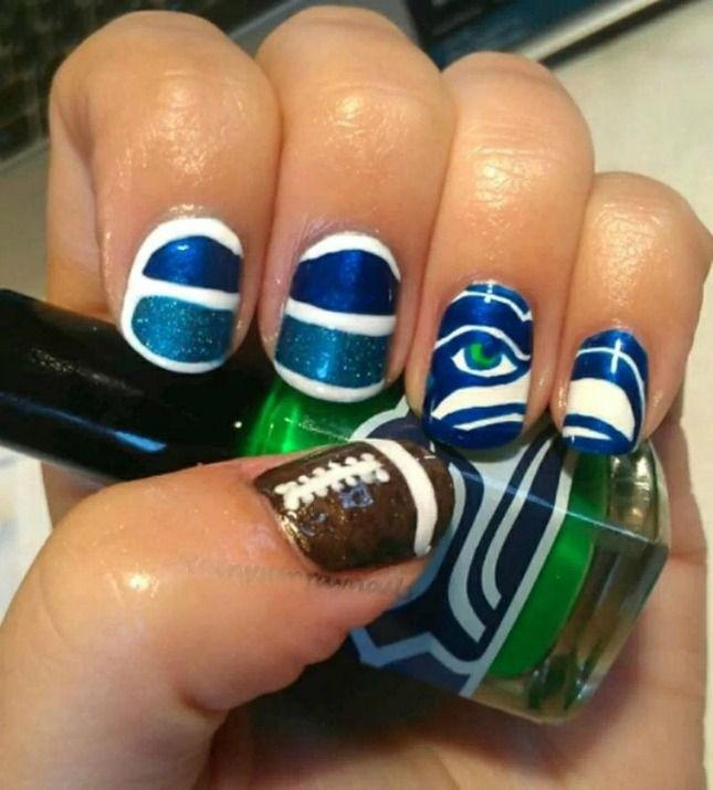 11 Nail Art Designs to Rock on Super Bowl Sunday via Brit + Co