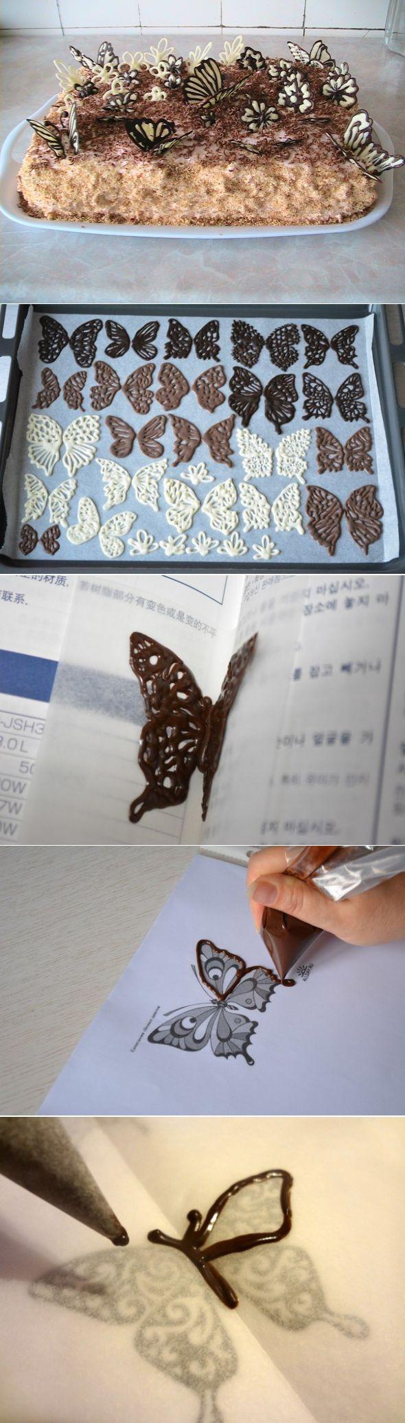 Шоколадные бабочки и узоры для украшения десерта » Женский Мир