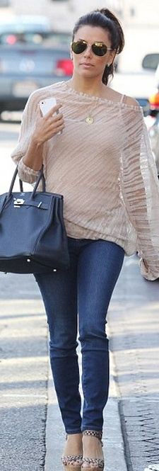 Shoes - Christian Louboutin Purse - Hermes Jeans - Henry & Belle Super Skinny Jean in Coast - as seen on Eva Longoria - by Henry & Belle cheaper style top Forever 21 Sheer Striped Top