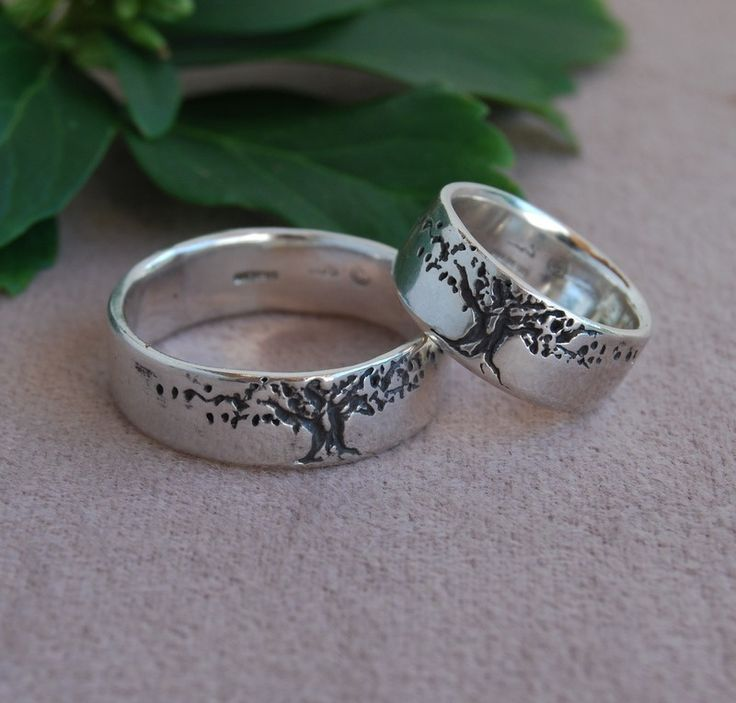 Nice Band Tree of Life Ring Set wide Sterling silver wedding Bands Men u Women u