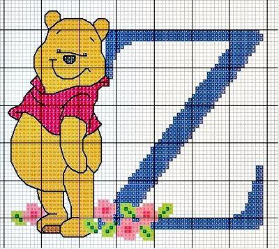 #Monograma Ursinho Pooh - letra Z #bordado #CoatsCorrente