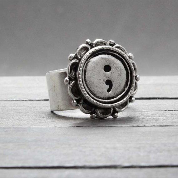 Floral Embedded #Semicolon Symbol Ring  #Suicide Awareness & Support