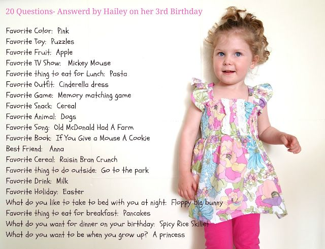 Birthday questions tradition start when they turn 3.